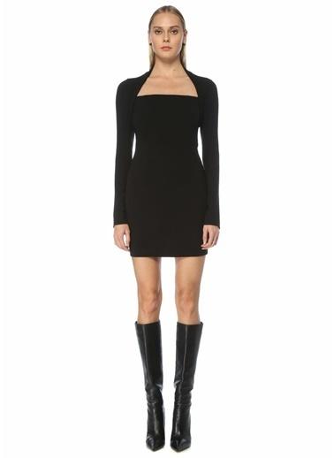 Nanushka Nanushka Maria  Kare Yaka Uzun Kol Mini Elbise 101557485 Siyah